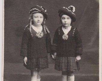 TWO VERY CUTE Bonnie Lasses in Matching Tartan Skirts and Hats with Ringlets in their Hair Original Private Issue Real Photo Postcard..c1915
