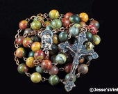 Catholic Rosary Beads Picasso Jasper Natural Stone Copper Traditional Rustic Rosary Beads Five Decade