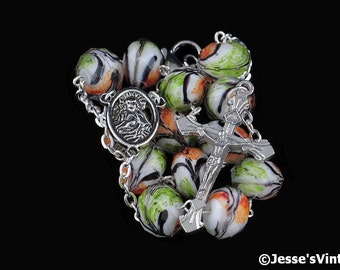 Auto Rosary Pocket White Orange Green Glass Beads Faceted 1 Decade Silver