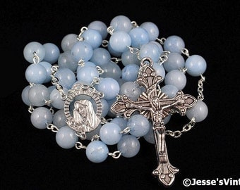 Catholic Rosary Blue Aventurine Synthetic Traditional Rosary Beads Our Lady of Sorrows Center Silver Stone