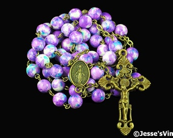 Catholic Rosary Beads Rustic Purple Blue White Rain Flower Bronze Natural Stone Traditional Five Decade