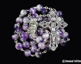 Catholic Rosary Beads Purple White Chevron Amethyst Natural Stone Rosary Silver Traditional