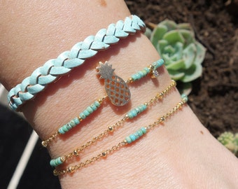 Pale Green Seed Beaded Bracelet - Pineapple Charm Bracelet - Gold Chain Anklet