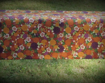 Fall Floral Fabric, Halloween Fabric, Half Yard, Orange Floral Fabric, Autumn Floral, Calico Material, Cotton, Orange and Purple, Cotton Fab