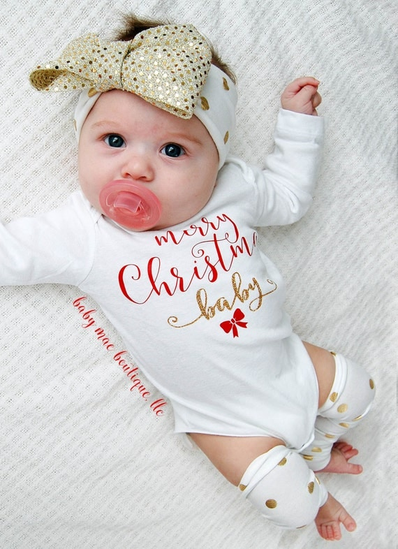 Baby's First Christmas. What's more special than Baby's First Christmas.. oh wait that's right. NOTHING! We've got the most precious, fun and sure to delight custom bodysuits, shirts, leg warmers, ornaments, and bibs for the First Christmas!
