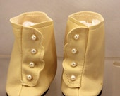 Doll Shoes Victorian Style White Vinyl White Pearl Buttons