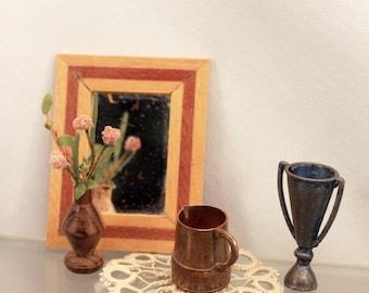 Miniature Vignette Scale Dollhouse Items Copper Pot Mirror Vase w Flowers Doily Loving Trophy Cup