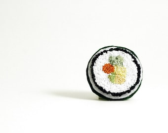 Ready to Ship! Veggie Roll Faux Sushi Pin. Orange, Green, Yellow, White. Punchneedle Embroidery Food Art.  Eco Friendly. Quirky Fun Gift