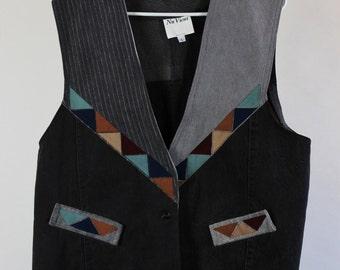 SALE - Vintage Denim Two Tone Patchwork Tribal Art Vest - Mens Size Large