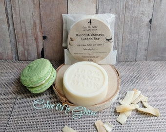 Coconut Macaron Solid Lotion Bar, Solid Body Butter, Massage Bar, 1.75 oz