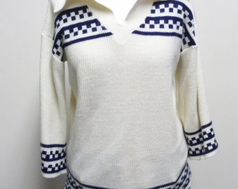 Vintage 1970's Cream and Navy Sweater