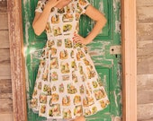 50's style Oh Alice Print Cotton Dress, Alice in Wonderland, Pinup, vintage reproduction, novelty print, Tenniel