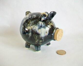 Piggy Bank - Slate / Cream - Handmade on the Potters Wheel
