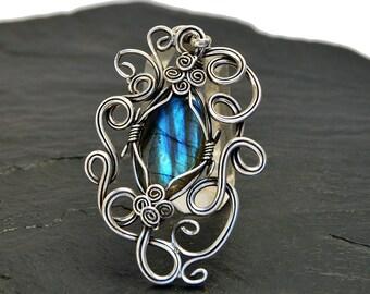 Victorian Pendant, Blue Pendant, Silver Pendant, Wire Wrapped Pendant, Gemstone Pendant, Blue Labradorite Pendant, Blue Stone Pendant