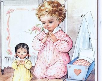 Vintage 60s Little Girl with Doll Framed Print