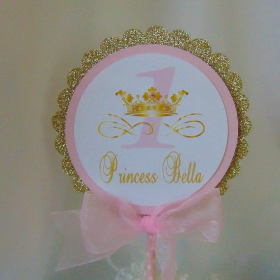 Princess Pink And Gold Birthday Cake Topper Centerpiece Pick 1st