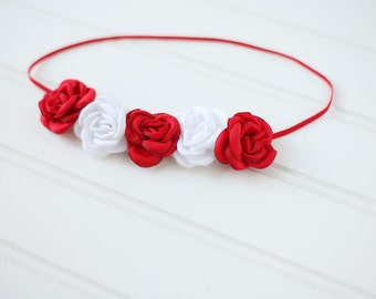 4th Flair - red and white singed satin rosette headband halo