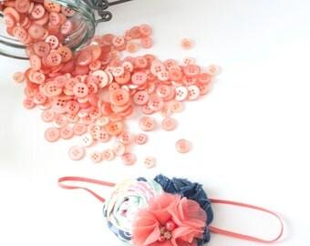 Denim Delight-  denim chiffon and rosette headband