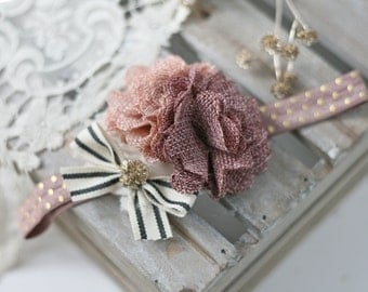 The Notebook- blush pink ivory gold and mauve burlap with black and white bow headband