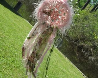 Pretty in Pink Dream Catcher, Bohemain Gypsy Home Decor, mini dream catcher for car rear view mirror