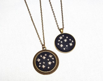 Small Galaxy | Framed Cross Stitch Necklace | One of a Kind Jewelry | Hand Stitched