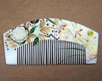 Vintage Japanese hair comb kanzashi gilded floral Geish headdress headpiece decorative comb hair ornament