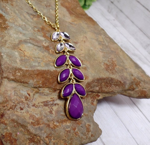 Purple Rhinestone Leaf Drop Necklace - Rhinestone Necklace - Purple Necklace - Ombre Necklace