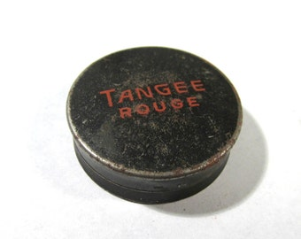 Tangee Rouge Compact 1940s VINTAGE Tangee Rouge Tin With Puff and Powder Display Collectors Makeup Assemblage Jewelry Supplies (D71)
