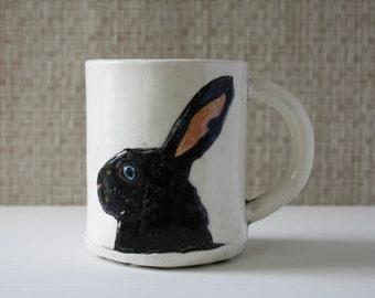 IN STOCK! Bunny Mug | bunny rabbit woodland pet mug | handmade coffee mug tea cup | black white, dutch blue inside | bunny portrait