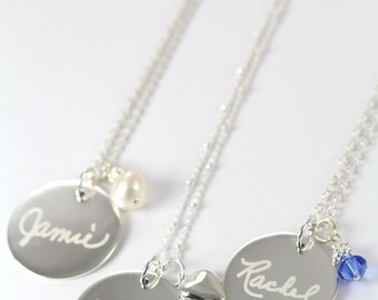 Bridesmaid Necklaces, Handwriting Jewelry Pendants Custom Engraved and Desgined Wedding Jewelry, 925 Sterling Silver