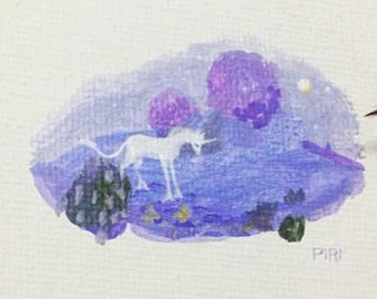 SALE. 50% OFF. The Last Unicorn - Original Painting. Day 131. Art by Lilly Piri. Magic Miniature Art.