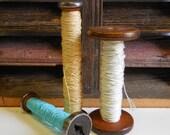 Three vintage Wooden Spools Primitive Industrial decor wood blue yellow white thread