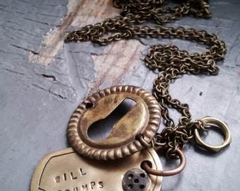 Will Trumps Fate - vintage 1800s escutcheon, metalwork charms & stamped dogtag necklace