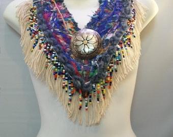 Handmade Mix Media Fiber Jewelry, Large Bib Necklace, Fringe and Beaded Necklace, Denim Embellished Fiber Necklace Art, Statement Necklace,