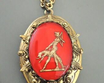 Locket Necklace - Art Deco Necklace - Vintage Locket - Goddess Artemis - Greyhound Dog - Vintage Cameo Necklace - Handmade Necklace