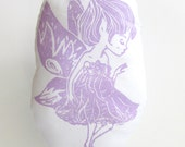 Plush Fairy Pillow. Hand Woodblock Printed. Choose ANY Color. Made to order.