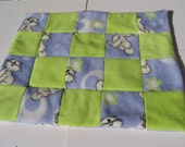 Cat Blanket - blue/lime