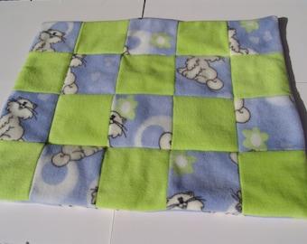 Cat Blanket - blue/lime