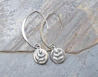 Silver Leaf Earrings, Sterling Silver Earrings, Modern Earrings, Classic Earrings, Curved Wire Earrings, Handmade Earrings, Leaf Jewelry