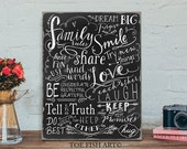 SALE!! Chalkboard Family Rules Bible Scripture Verses  Hand Lettered Typography Word Art  Distressed Wood Wall Sign