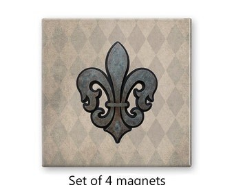 Fleur de lis magnet set, rustic fridge magnets, refrigerator magnets, set of 4 decorative magnets, kitchen decor, art magnets, tan