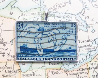 Vintage Great Lakes Transportation United States 3 Cent Postage Stamp Necklace Pendant Key Ring