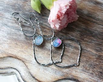 Lightning Ridge Black Opal, Australian Opal, Sterling Silver, Chandelier Earrings, Long Earrings... Fire And Light...