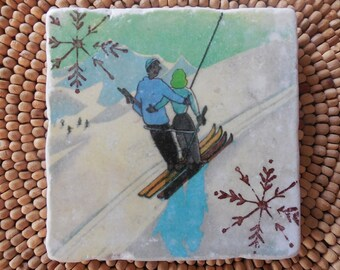 "Marble Stone Coaster - ""Sweet Couple"" - Vintage Ski - Ski Decor - Ski Gift - Decorative Tile"