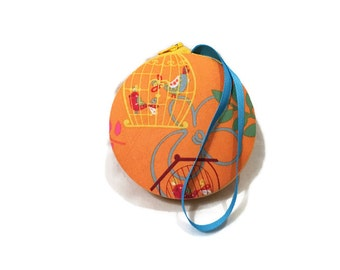 Bird Cage Macaron Wristlet Clutch Wallet Small of Kit - The Suzy Handmade in USA