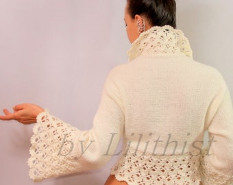 Ivory Shrug Bolero Knit Shrug Crochet Shrug Sweater Long Bell Sleeve Bridal Shrug Bolero Jacket Wedding Cover Up Bride Cardigan Shrug S M L
