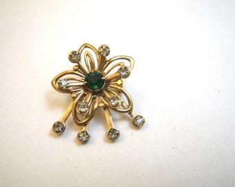 Atomic Flower Pin with Green & White Rhinestones