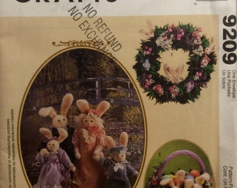 """Sewing Pattern Rabbit Family Stuffed Toys 18"""" Mother Father 13"""" & 11"""" Bunnies Wreath Basket Seasonal Easter Spring Decor Uncut 1998"""