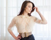 Vintage 1950s Sheer Blouse - Ivory 50s Top - Barely There Sheer Blouse