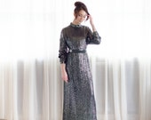 Sequined 70s Dress - Vintage 1970s Evening Gown - Exchange Rate Dress